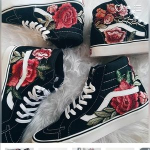Custom Rose Floral Embroidered Patch Vans